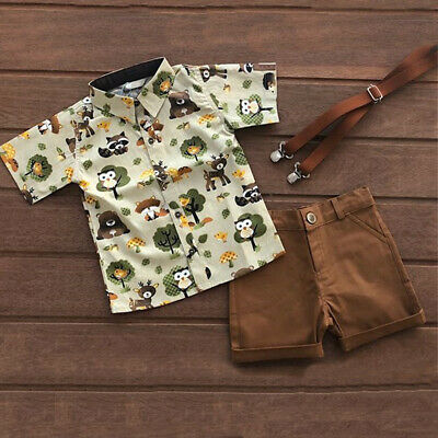 US 2PCS Toddler Kids Baby Boy Short Sleeve Shirt+ Shorts Pants Clothes Outfit