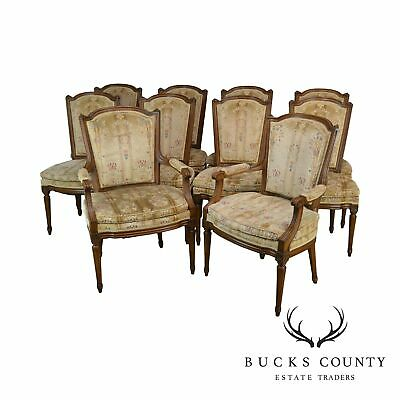 French Louis XVI Style Quality Vintage Walnut Set 10 Dining Chairs