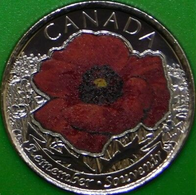 2015 Canada Paint Poppy 25 Cents Graded as Brilliant Uncirculated