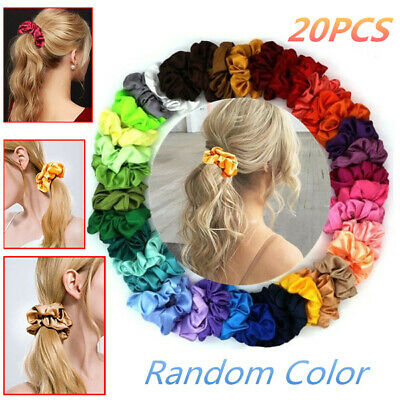 20Pcs Silk Solid Scrunchies Elastic Satin Hairbands Girls Hair Tie Hair Rope