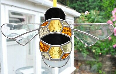Large Honeycomb Bumble Bee Stained Glass Art Suncatcher - Handmade The Glass Sea