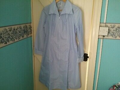 New Vintage St Michael Nylon blue and white check overall/uniform size 16