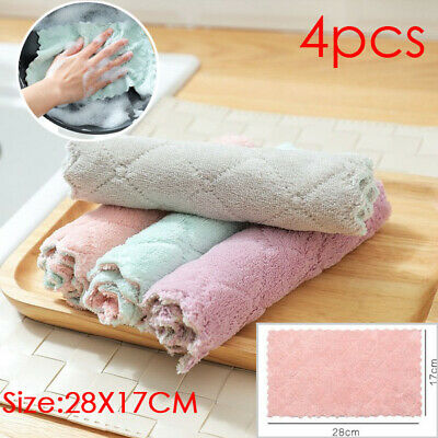 4 Pcs Non-stick Oil Rags Soft Cleaning Cloth Double-sided Strong Absorbent Rag