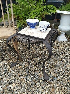 A Rare Antique Wrought Iron Tiled Top Coffee Table Circa 1900 jardeniere stand