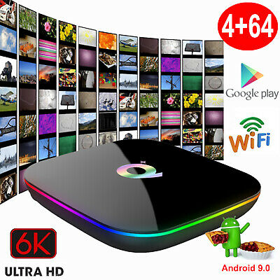 Qplus 6K 4+64G Android 9.0 Pie Quad Core Smart TV Box WIFI USB HDMI Media Player