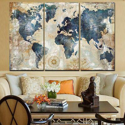 3Pcs World Map Modern Wall Oil Canvas Painting Print Home Decor Framed/Unframed