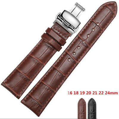Curved Genuine Leather Replacement Watch Band Strap Butterfly Deployant Clasp