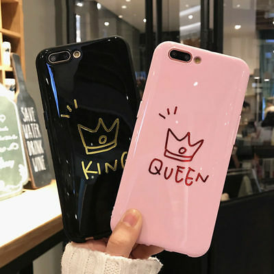 89b082c404 Glossy Crown KING QUEEN Letter Phone Couples Case Cover For iPhone 6s 7  8Plus XS