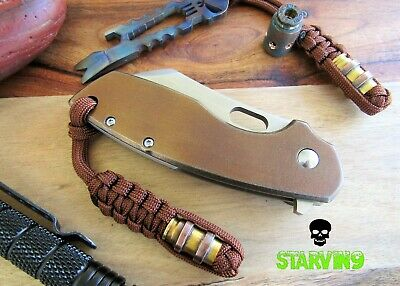 Paracord knife lanyard-9mm brass/copper bead-fits Zero tolerance,CRKT & Spyderco