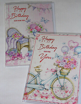 FEMALE BIRTHDAY CARDS X 12, just 28p per card, FOILED,WRAPPED, ( B43