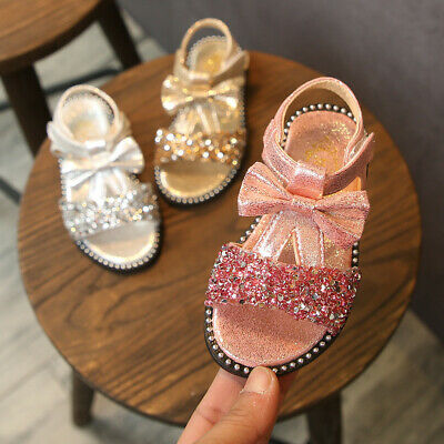 Toddler Kids Baby Girls Summer Bow Bling Sequins Single Princess Shoes Sandals