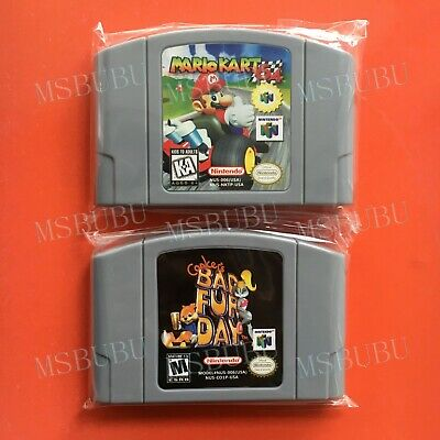 Two Games Mario Kart 64 & Conker's Bad Fur Day - For Nintendo 64 Video Card N64