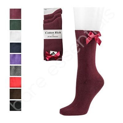 Back To School Rich Cotton Ankle Bow Socks For Boy And Girls In Range Of Colours