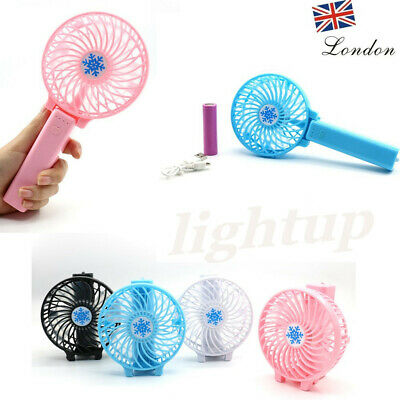 Mini Portable USB Rechargeable Fan Travel Cooling Charging Handheld +18650 UK LH