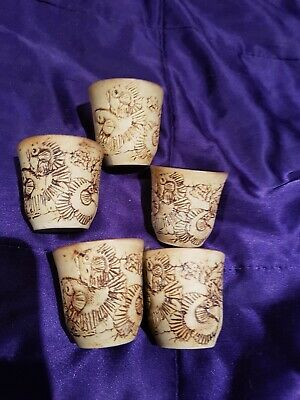 5 Vintage Very Unusual Etched Pottery EGG/ SAKE CUPS AUSTRALIAN POTTERY