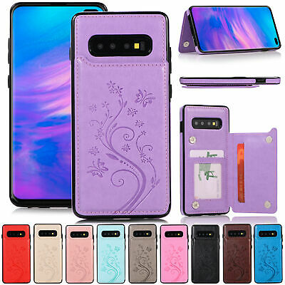 For Samsung S9 Plus S10e S8 Luxury Emboss Leather Card Holder Wallet Case Cover