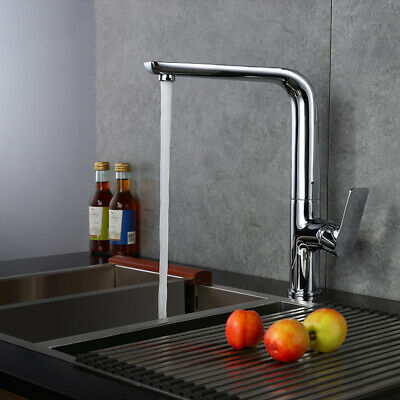 Modern One Lever Swivel Spout One-Hole Kitchen Faucet Mixer Tap Polished Chrome