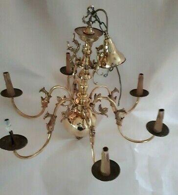 Large Antique Victorian 6 Lights Flemish Dutch Style Chandelier