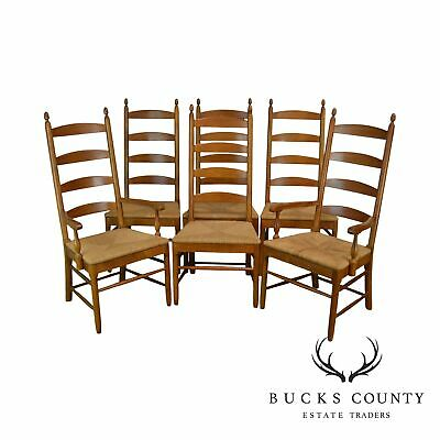 Thomasville Vintage Solid Cherry Wood Set 6 Ladder Back Rush Seat Dining Chairs