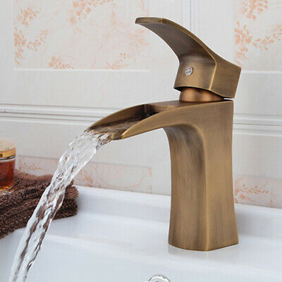 Antique Brass Waterfall Bathroom Sink Faucet One Hole 1-Handle Basin Tap Filler