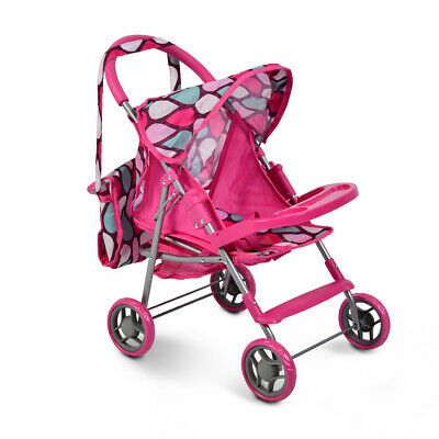 Dolls Buggy Stroller Pushchair With Bag Foldable Girl Toy Doll Pram Kids Gift