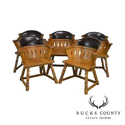 Romweber Viking Oak Leather Back Set of 5 Captains Dining Arm Chairs