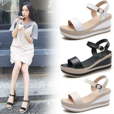 Women's Ankle Strap Wedge Sandals High Platform Heel Buckle Open Toe Shoes Party