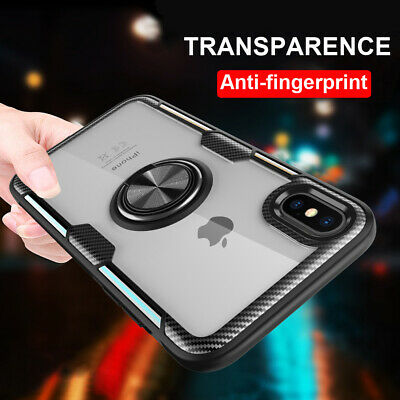 Clear Acrylic Hybrid Armor Case for iPhone XS Max X 6s 7 8 Plus Ring Stand Cover