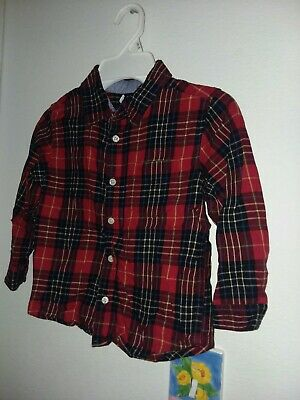 baby gap toddler boys l/s flannel shirt button down cotton plaid red blue blk 5T