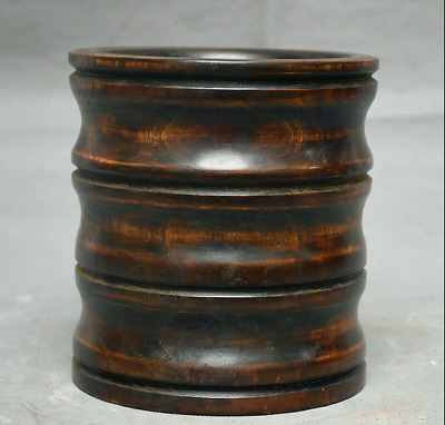 "6.2"" Antique Old China Huanghuali Wood Hand Carved Dynasty Brush Pot Pencil Vase"