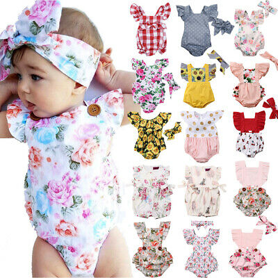 AU Stock Newborn Baby Girls Flower Romper Bodysuit Jumpsuit 2PCS Outfit Clothes