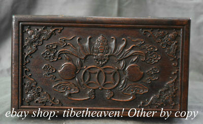 "10.4"" Old Chinese Huanghuali Wood Carving Dynasty Palace Bat Peach Jewelry Box"