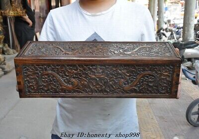"20"" Old Chinese Huanghuali Wood Carved Dragon Totem Storage box Treasure chest"