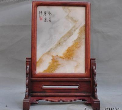 Old Chinese Huanghuali wood inlay Natural Marble Landscape Screen Byobu Statue