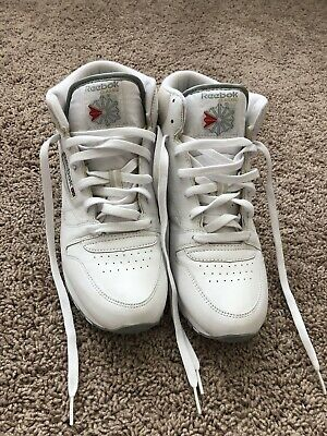 e30ab3f76 Reebok High Top Vintage 80's 90's White Leather Mens Size 10.5 Lace Up Shoes