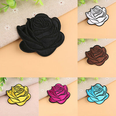 EE_ Rose Badge Iron On Patch Decor Flower Bag Hat Applique Clothing Accessory Co