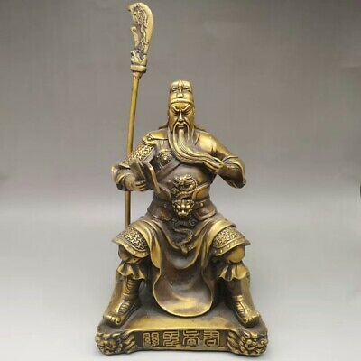 Collection chinese pure copper hand-made Guangong Guanyu statue