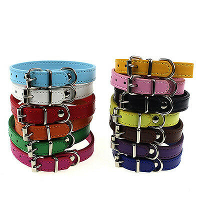 EE_ LC_ Leather Pure Color Cute Dog Pet Cat Puppy Collar Neck Buckle Adjustable