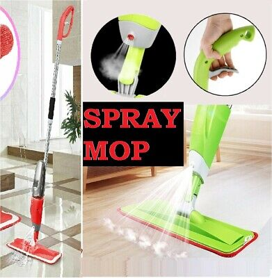 Water Spray Mop Wet Hard Wood Floor Tiles Cleaning Microfibre Pad Flat Cleaner