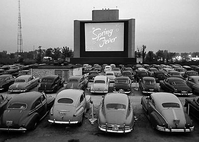 Vintage Drive-In Movie Theater PHOTO Classic Cars Screen