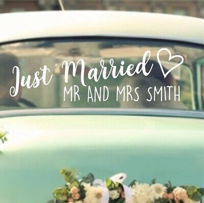 Just Married Personalised Wedding Sticker Decal | Custom Bespoke Vinyl Bride WD3
