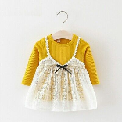 Autumn Dress Kids Long Sleeved Girls Wear Knitted Lacey Patchwork Party Sundress