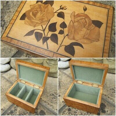 Terrific Early Antique Inlaid Jewellery Box - Fab Interior