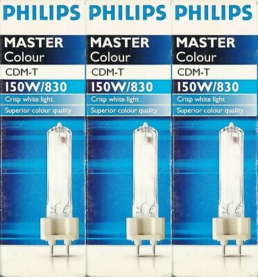 4 x Philips Mastercolour CDM-T G12 150W/830 Ceramic Metal Halide Lamp Warm White