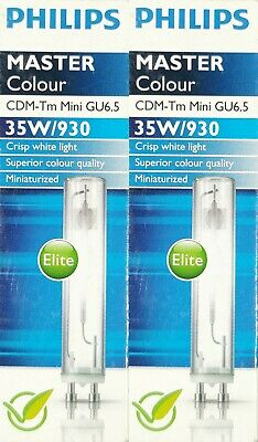 2 x Philips Mastercolour CDM-Tm Mini GU6.5 35W/830 Ceramic Metal Halide Lamp