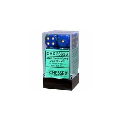 Set d6 16mm Gemini Blue-Green w/gold - Chessex CHX 26636