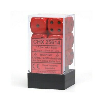 Set d6 16mm Opaque Red w/ black - Chessex CHX 25614