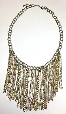 Chain Bib Tassel Fashion Necklace Mixed Metal Toned Clear Bead Rhinestone Charms
