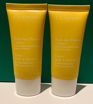 New Clarins Tonic Bath & Shower Concentrate With Essential Oils 30ml x 2 = 60ml