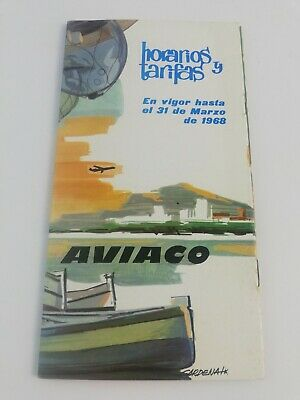 Vintage Aviaco Spanish Airlines Timetable Schedules Rates March 1968.